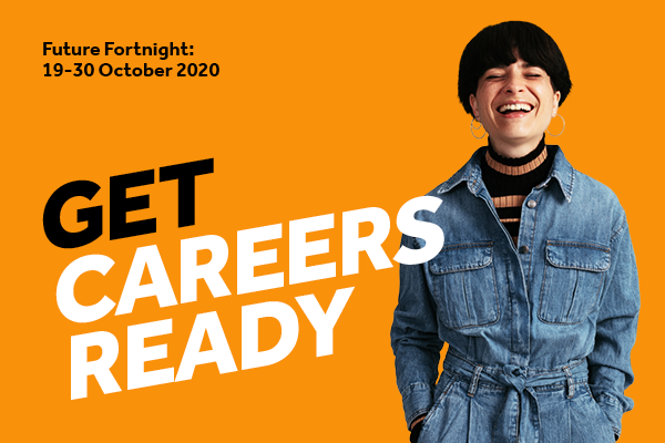 Image of girl smiling next to Get Careers Ready message