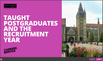 "image of online resource ""Taught postgraduates and the recruitment year"" - links to online resource, opens in new tab"